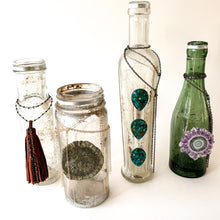 Load image into Gallery viewer, Vintage Green Bottle with Stalactite and Chains