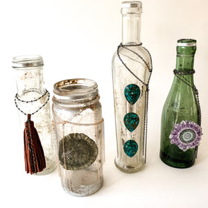 Vintage Green Bottle with Stalactite and Chains