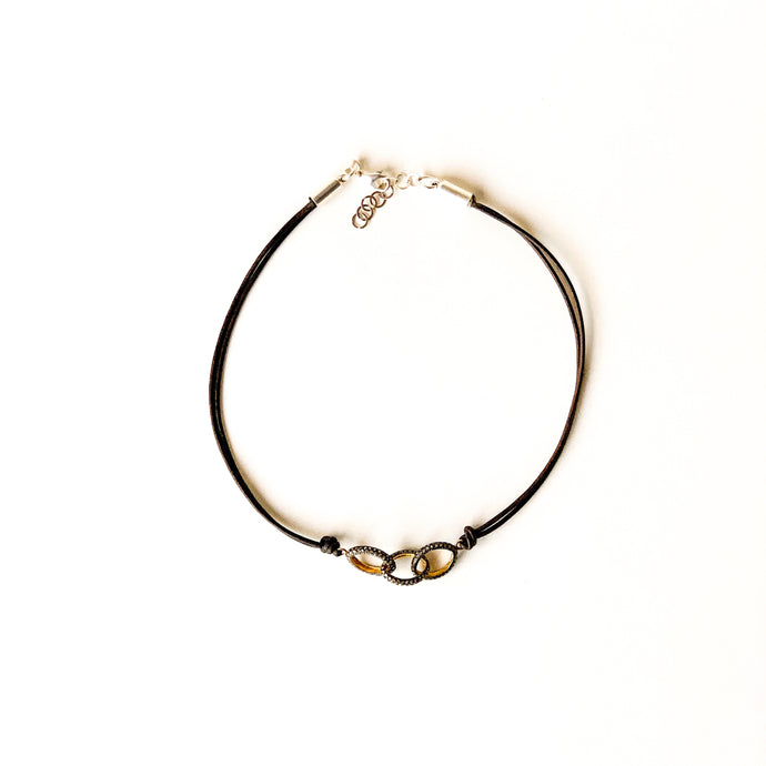 Diamond Links Leather Cord Choker
