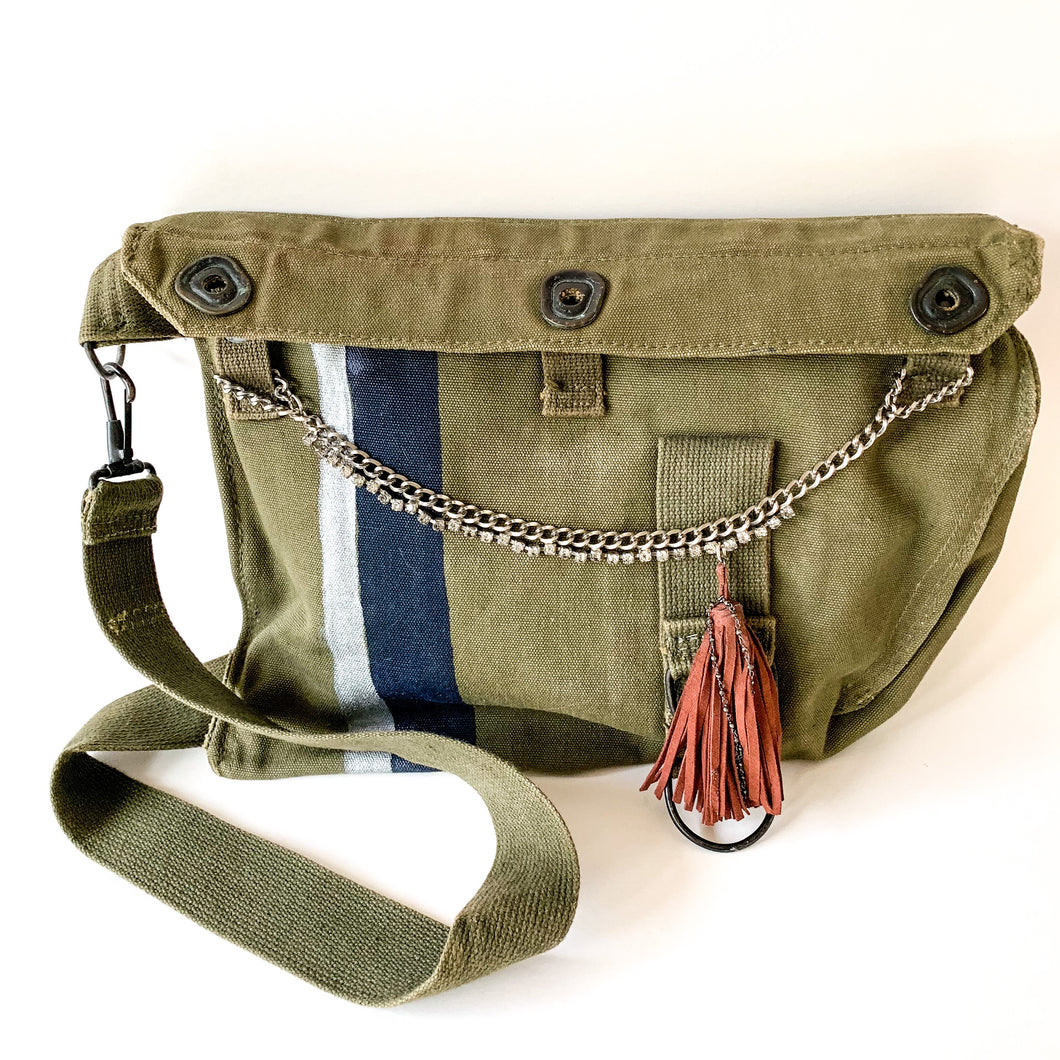 Vintage Army Bag with Tassel