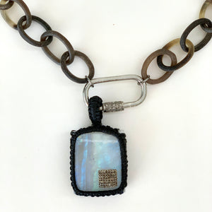 Moonstone with diamond  and  macrame necklace
