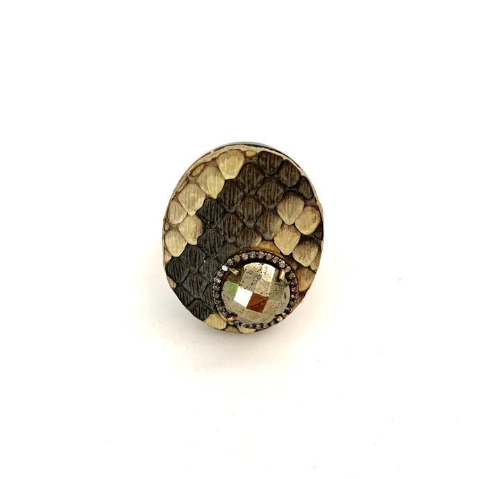 Snakeskin and Pyrite Ring