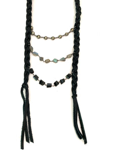 Leather Bib Necklace with Gemstones