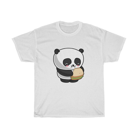 Women's short sleeve t-shirt cotton tee with panda eating