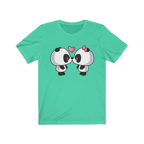 Women short sleeve shirt T shirt for women Tee for women Cute panda kissing