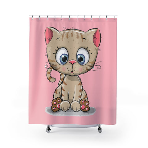 Shower Curtains - Cute kitty pink color | Bathroom decor