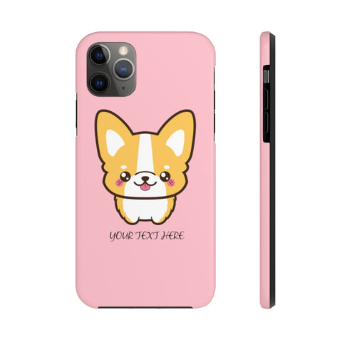 iPhone 11 pro max cases - Pink color cute corgi | iPhone cases mate tough | Personalized iPhone cases