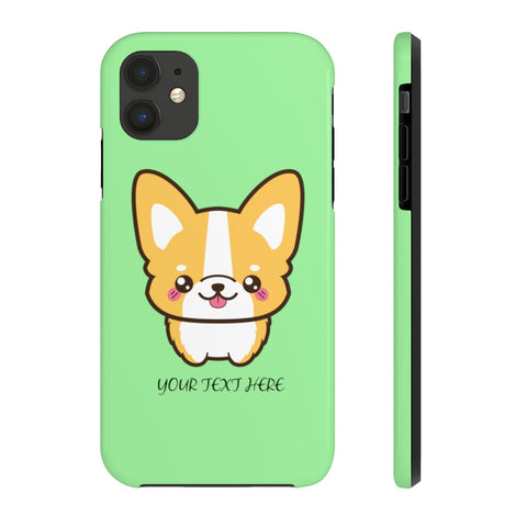 iPhone 11 cases - Green color cute corgi | iPhone cases mate tough | Personalized iPhone cases