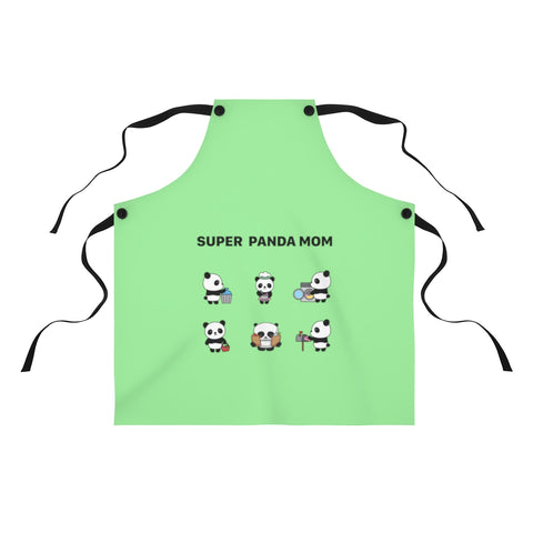 Apron for women - Panda mom green color | Women apron