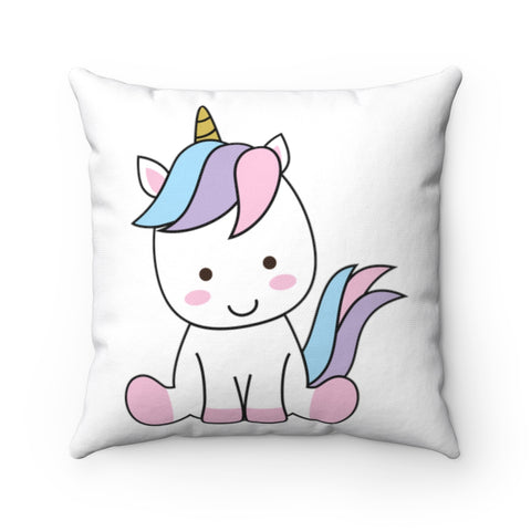 Unicorn Sitting Spun Polyester Square Pillow | Cute sitting unicorn pillow