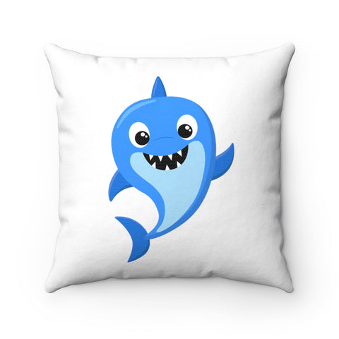 Baby Shark - Blue Spun Polyester Square Pillow | Baby Shower Gift