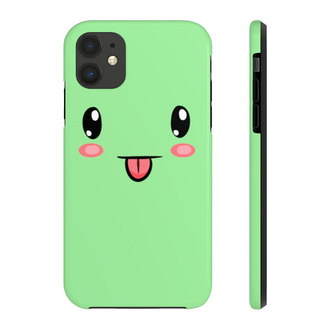 iPhone XS max cases - Cute face green background color | iPhone xr cases mate tough
