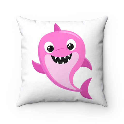 Baby Shark - Pink Spun Polyester Square Pillow