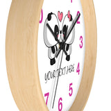 Custom Wall clock - Cute panda kissing | Custom wall clock | Personalized clock