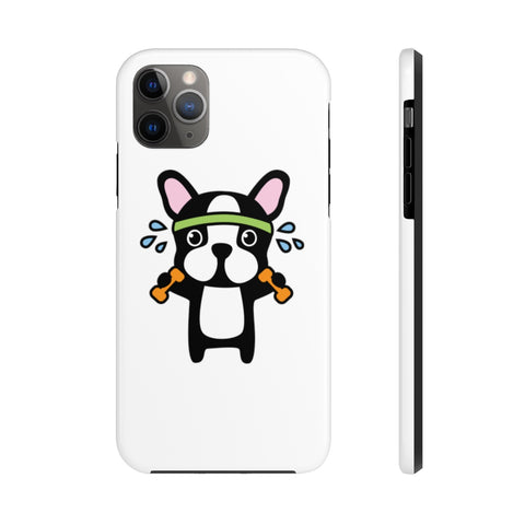 iPhone 11 pro max cases - Workout bulldog white background color | iPhone xr cases mate tough
