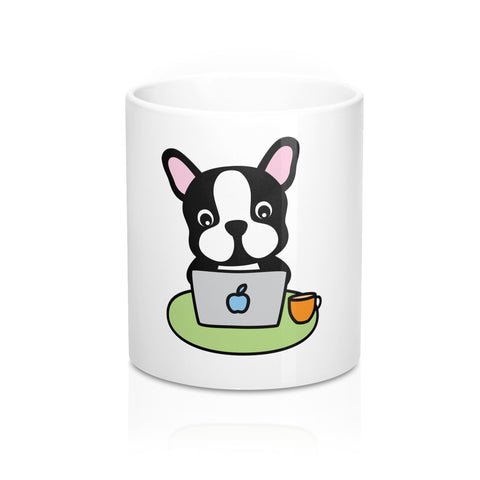 Fathers Day Gift - Personalized Coffee Mug with Laptop Bulldog Dad