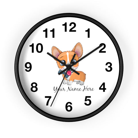 Custom wall clock - Cute corgi | Custom name wall clock