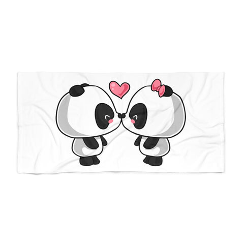 Beach towel - Cute kissing Panda | Custom beach towel | Personalized beach towel