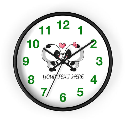 Wall clock - Cute panda kissing | Custom wall clock | Personalized clock