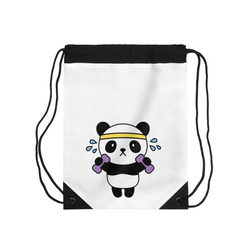Drawstring Bag - Working out panda