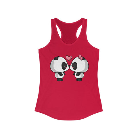Women tank top - Cute kissing panda Racerback tank top for women