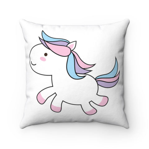 Unicorn Jumping Spun Polyester Square Pillow | Cute Jumping Unicorn Pillow