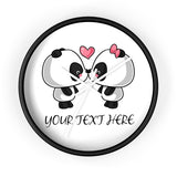Wall clock kissing panda with no lines
