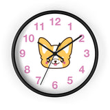 Wall clock with cute corgi face