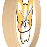 Wall clock corgi standing with no lines