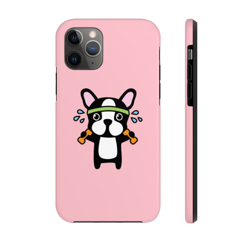 iPhone 11 pro cases - Workout bulldog pink background color | iPhone xr cases mate tough