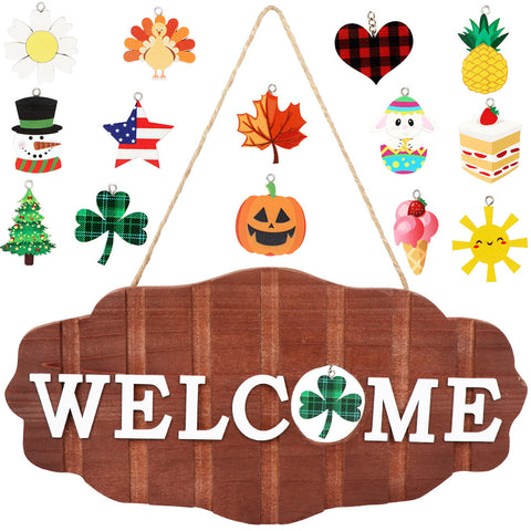 Welcome Sign Door Decoration Replaceable Halloween, Christmas, Door Sign