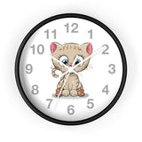 Wall clock with cute kitty printed