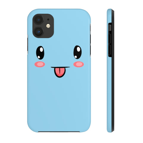 iPhone 11 cases - Cute face blue background color | iPhone xr cases mate tough