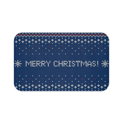 Christmas decorations - Blue Christmas Knitted Mat | Custom bath mat | Christmas gift