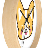 Wall clock cute corgi with no lines