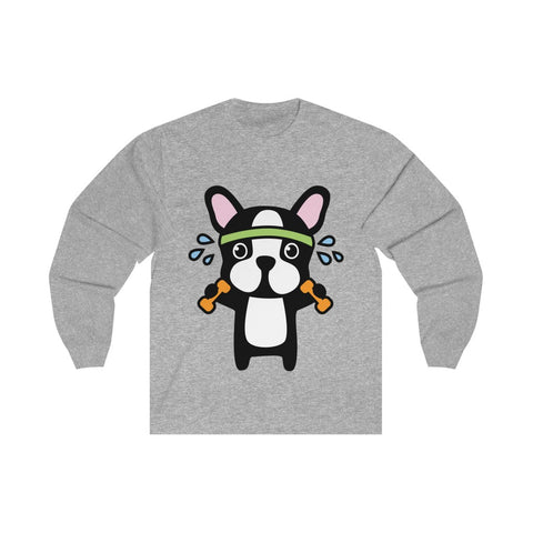Men long sleeve shirt with workout bull dog Long sleeve cotton tee