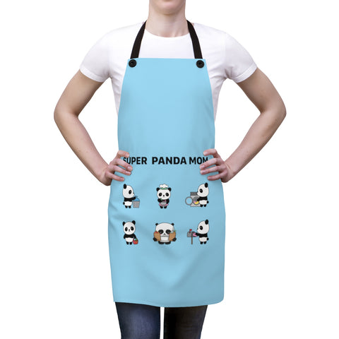 Apron for women - Panda mom blue color | Women apron