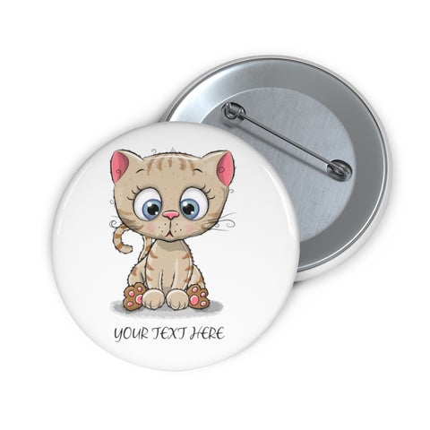 Custom pin button - Kitty | Personalized pin button