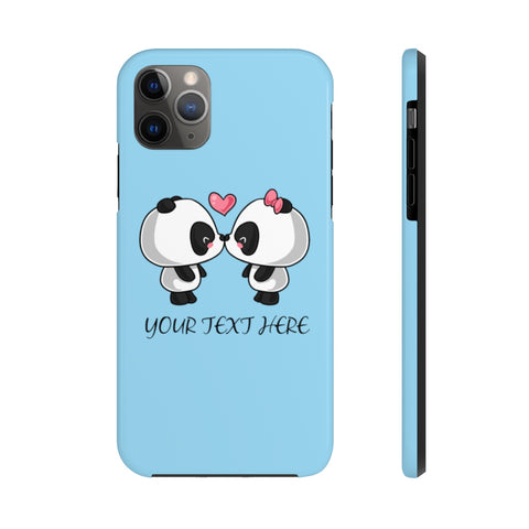 iPhone cases - Baby blue color cute kissing panda | iPhone cases mate tough | Personalized iPhone cases