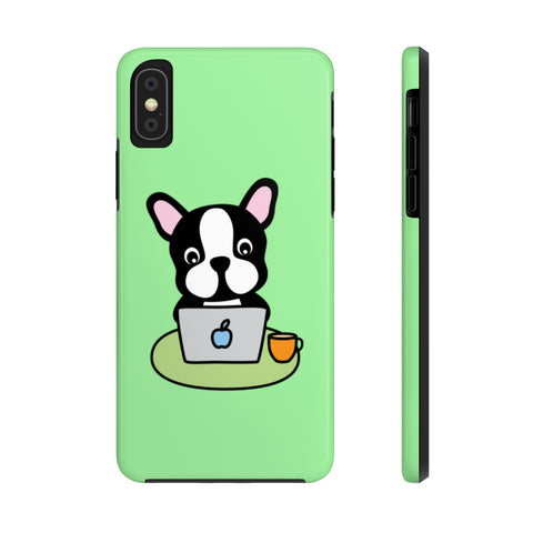 iPhone x cases - Laptop frenchie blue background color | iPhone xs cases mate tough