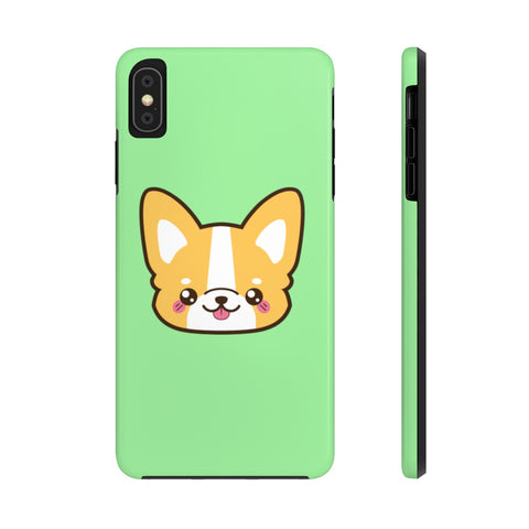 iPhone xs max cases - Light green color corgi face | iPhone X cases mate tough