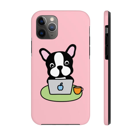iPhone 11 pro cases - Laptop frenchie pink background color | iPhone x cases mate tough