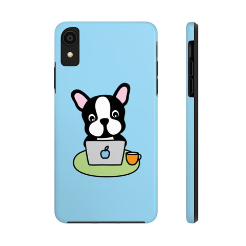 iPhone xr cases - Laptop frenchie blue background color | iPhone x cases mate tough