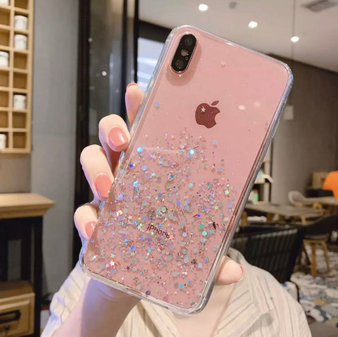 For iPhone x / xr / xs / xs max pink glitter clear case