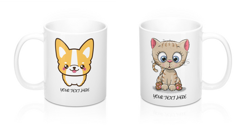 Couples coffee mug - Corgi and kitty | Mugs for couples