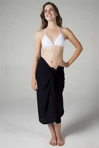Georgette Long Sarong - Black