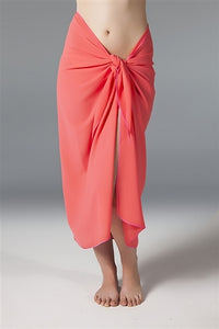 Georgette Long Sarong - Coral