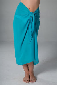 Georgette Long Sarong - Turquoise