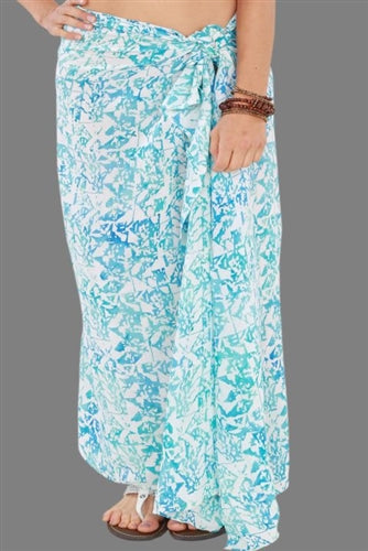 Plus Size Long Sarong Water Print