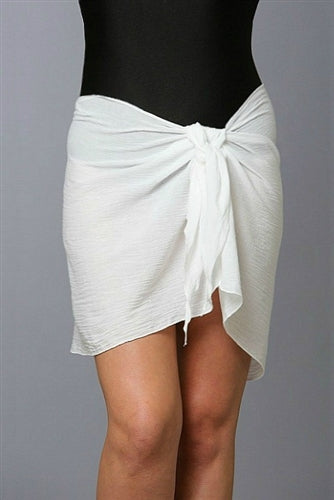 Crinkle Cotton Sarong White